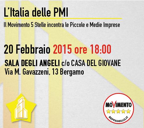 #PMITOUR – Il Movimento 5 Stelle incontra le PMI domani 20 febbraio a Bergamo