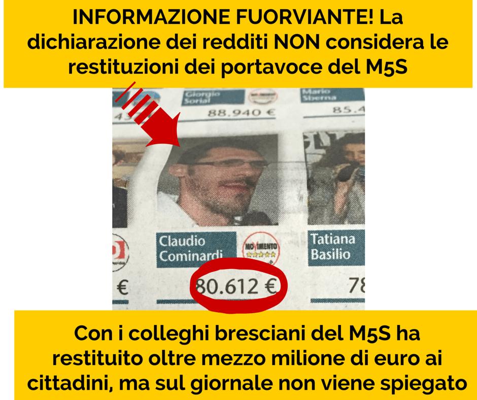 Dichiarazione dei redditi M5S: Solo NOI restituiamo ai cittadini