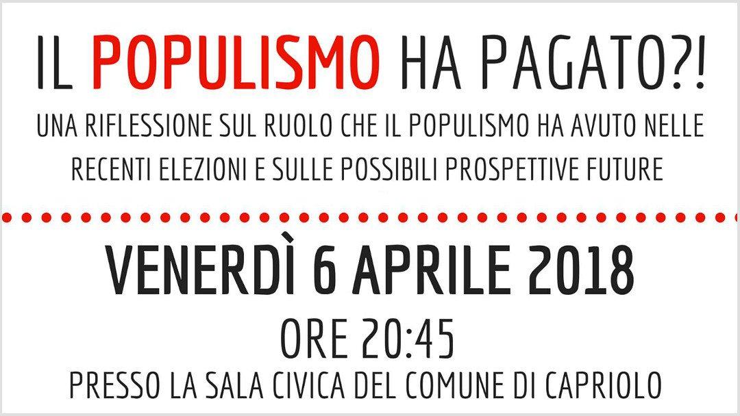 Populismo e populisti: a Capriolo una serata per discuterne