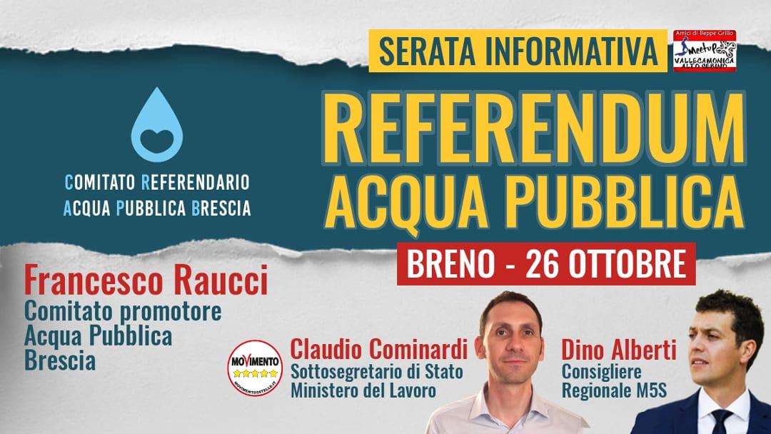 Referendum acqua pubblica: venerdì 26 ottobre serata informativa a Breno