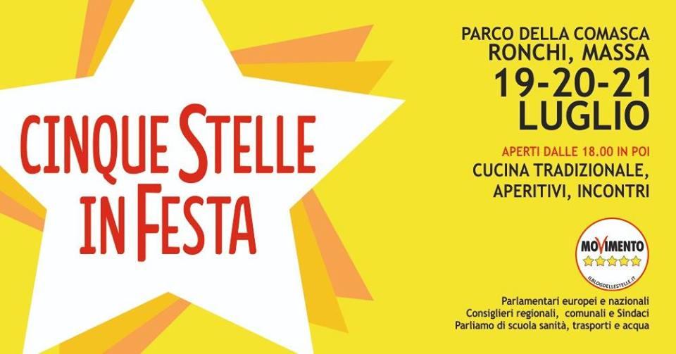 Il 19 LUGLIO a Massa la festa 5 Stelle che celebra le nostre idee e il territorio