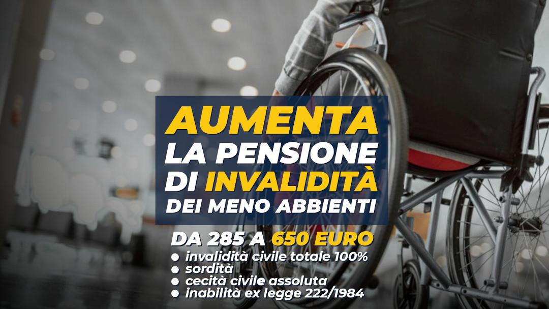 Pensioni di invalidità: aumento per gli assegni dei meno abbienti